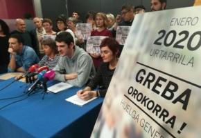 La huelga general de enero será una oportunidad para la defensa de las pensiones, el empleo y los derechos sociales